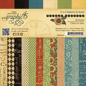 "Graphics 45 - French Country Patterns & Solids Paper Pad 6"" x 6"""